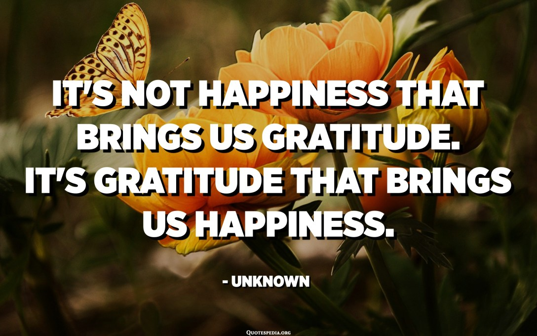 It's not happiness that brings us gratitude. It's gratitude that brings us happiness. - Unknown
