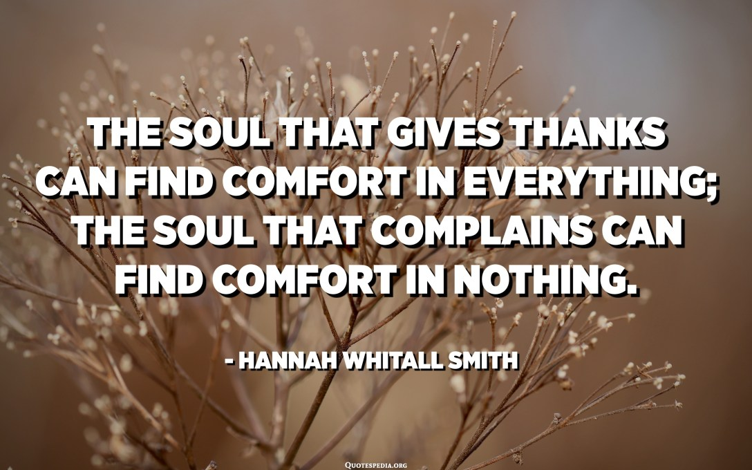 The soul that gives thanks can find comfort in everything; the soul that complains can find comfort in nothing. - Hannah Whitall Smith