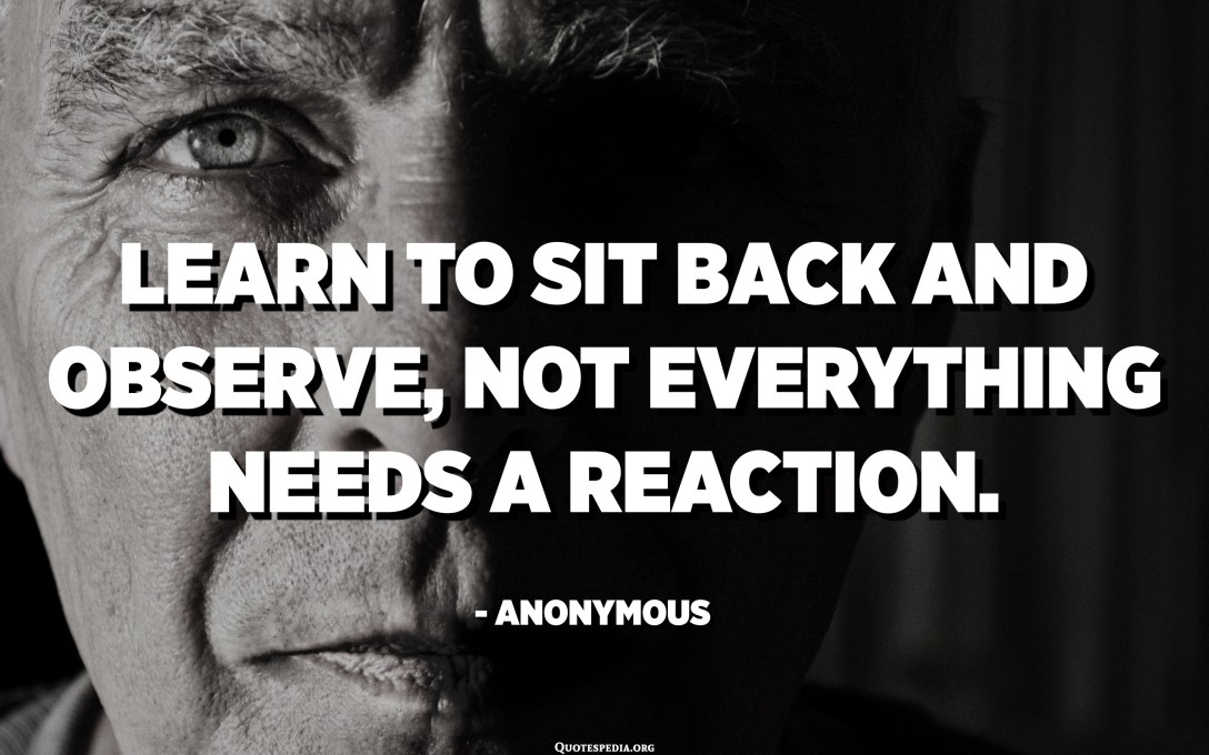 Learn to sit back and observe, not everything needs a reaction. - Anonymous