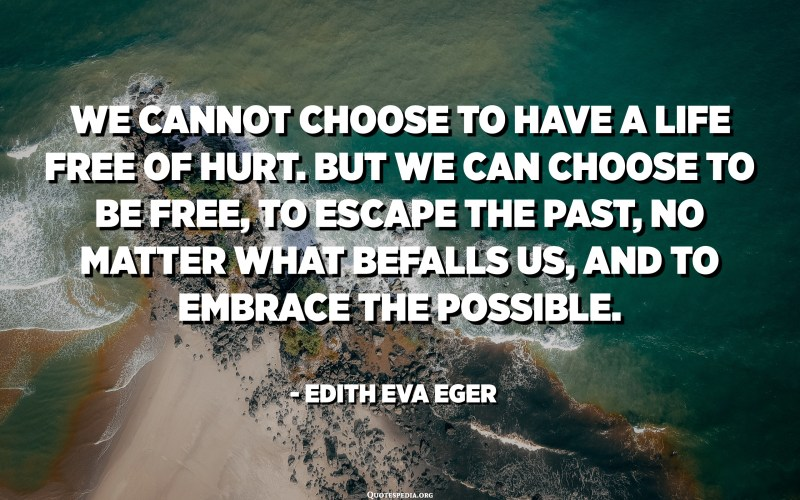 We cannot choose to have a life free of hurt. But we can choose to be free, to escape the past, no matter what befalls us, and to embrace the possible. - Edith Eva Eger