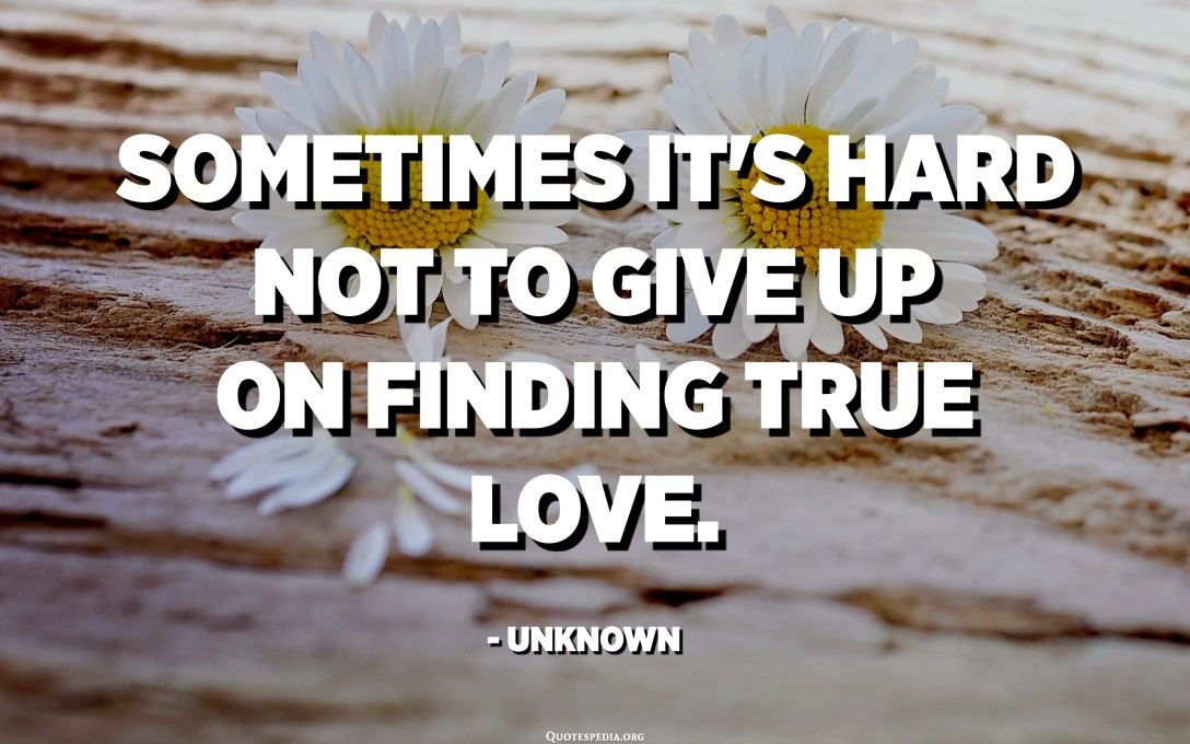 Sometimes it's hard not to give up on finding true love. - Unknown