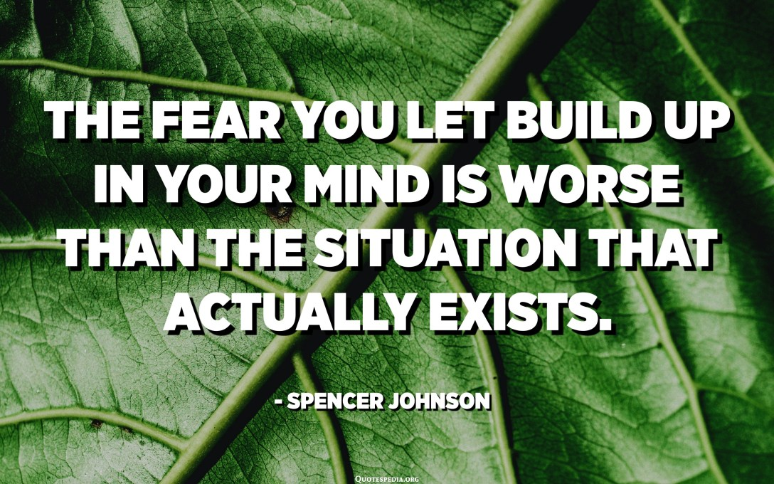 The fear you let build up in your mind is worse than the situation that actually exists. - Spencer Johnson