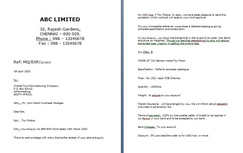Quotation Letter Business Proposal Template   Business