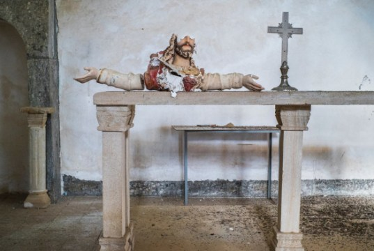 A statue destroyed by ISIS last summer in a 13th-century church in Telskuf, Iraq. Credit Peter van Agtmael/Magnum, for The New York Times