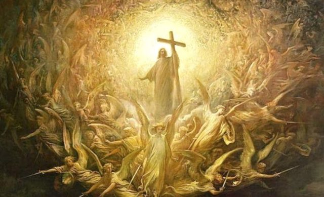 Gustave Doré (1832–1883) The Triumph Of Christianity Over Paganism (c 1868), oil on canvas, 300 x 200 cm, Art Gallery of Hamilton, Ontario. Wikimedia Commons.