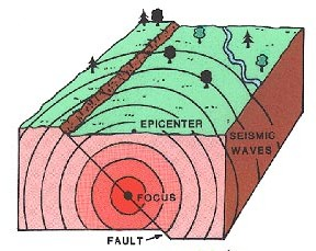 Seismic waves travel out from the focus of an earthquake in all directions