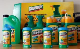 Monsanto's Roundup weedkiller atomizers are displayed in the company headquarters in Morges