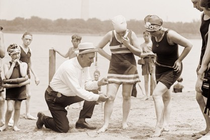 Woman Getting Her Swimsuit Measured in the 1920s
