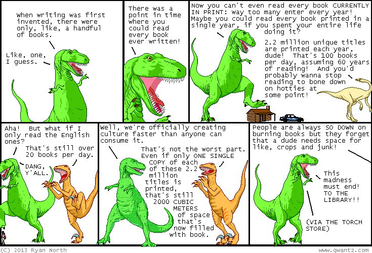 Dinosaur Comics: Too many books