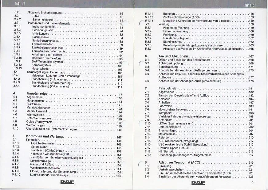 Truck DAF xf105 2009 Operating Instructions Manual Board