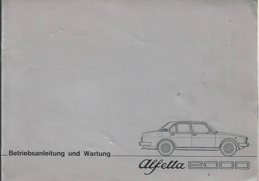 ALFA ROMEO ALFETTA 2000 Betriebsanleitung 1977
