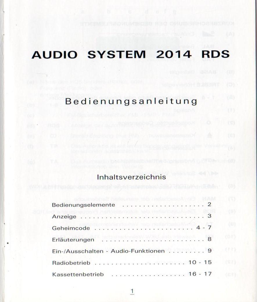 CITROEN Saxo Audiosystem : 2014 RDS Betriebsanleitung 1996