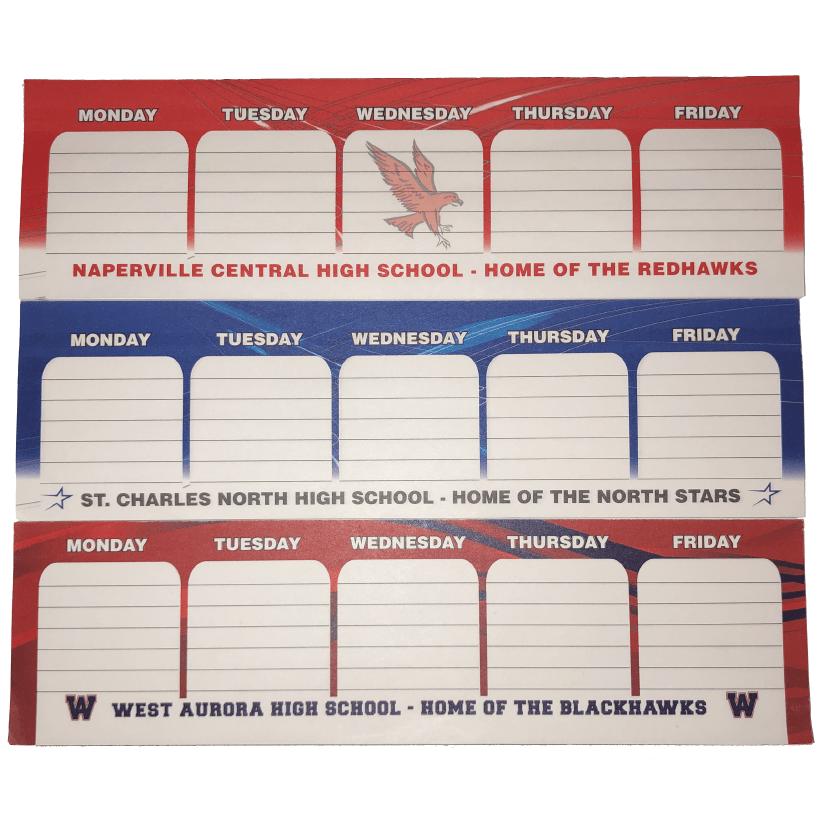 customizable weekday note pad