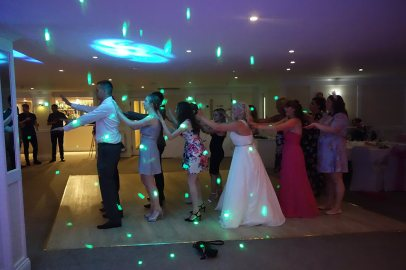 Wedding DJ playing the Macarena for the bride at a disco in the Greenbank Hotel, Falmouth