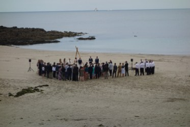 Wireless speaker system hire for a Cornish beach wedding ceremony at The Rosevine in Portscatho
