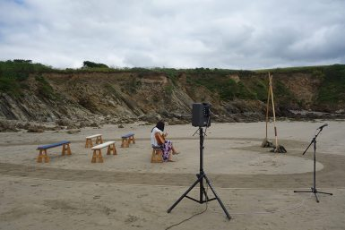Speakers and microphone hired from R2 Events for a guitarist at a beach wedding ceremony on the Roseland, Cornwall