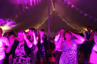 Group of Guests Performing the Classic Macarena at Tredudwell Manor, May 2015