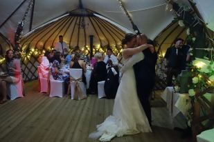 Jacqui & Matthew Dancing with arms around each other at Their Wedding, Gwel an Mor, Spetember 2015