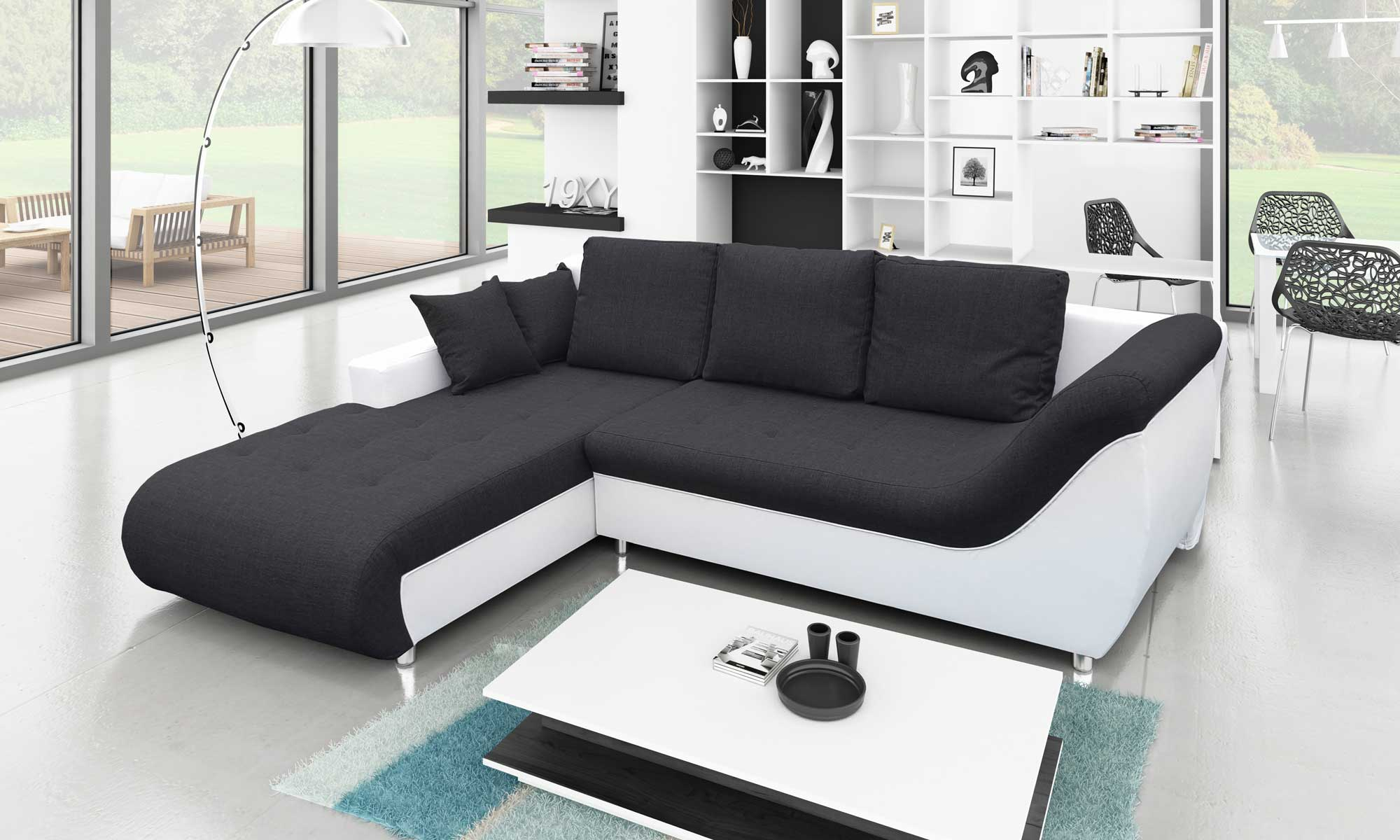 white and black sofa bed compact twin sleeper convertible four seater with