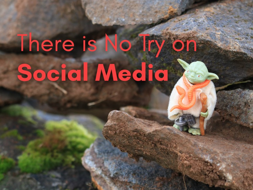 figurine of Yoda telling us there is no try on social media.