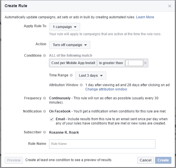 Creating a Facebook Ad Rule