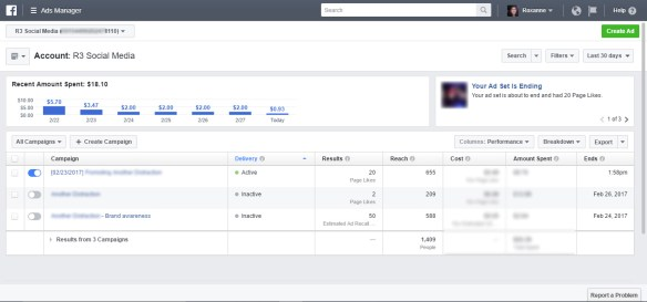 Facebook Ad Account Dashboard
