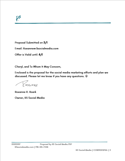 A sample cover letter for a social media marketing proposal