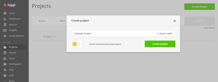 Adding a project name in our time tracking app.