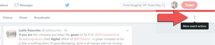 There are more twitter search options which help us save our Twitter searches, when we're looking to earn links from our social media.
