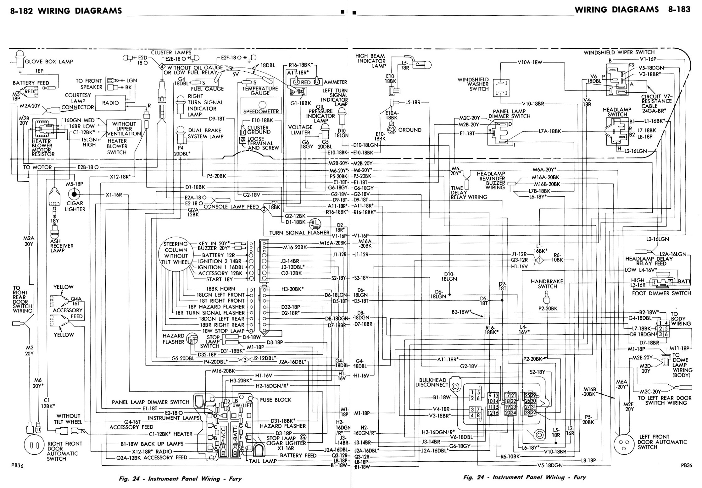 auto wiring diagram 1965 plymouth valiant or barracuda engine