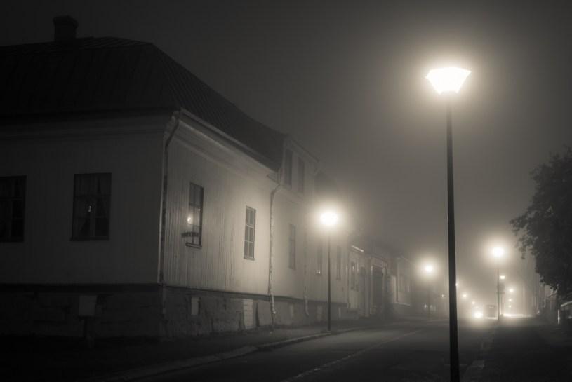 Pieni kaupunki sumuisena iltana - Pekka Mehtälä
