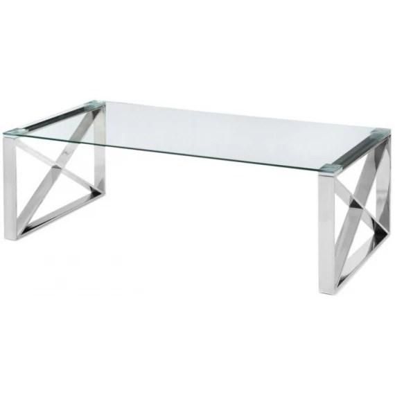 glass chrome cross leg coffee table