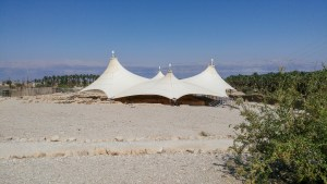Tent with dead sea in background