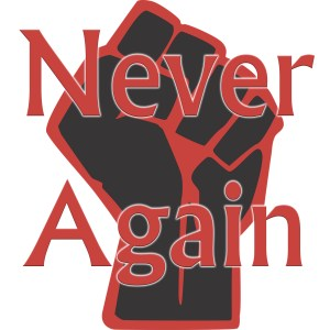 bloody fist with text 'never again'