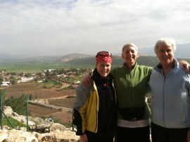 First Day of bike ride - the Golan Heights. Me, Rabbi Sue Levi Elwell and Dalya Levy.