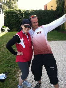 Me and our terrific bike leader outside a winery during one of our stops.