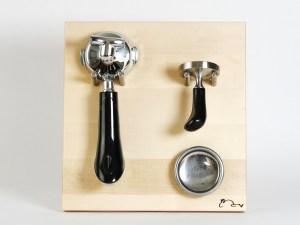 Siebträgerhalter, Siebträgerwandhalter Ahorn Klein mit Sieben Rabbit Espressodesign