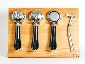 Siebträgerhalter, Siebträgerwandhalter Eiche Groß mit Sieben Rabbit Espressodesign