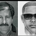 The man on the left admitted multiple murder, the sketch on the right is the NYPD 'suspect'.