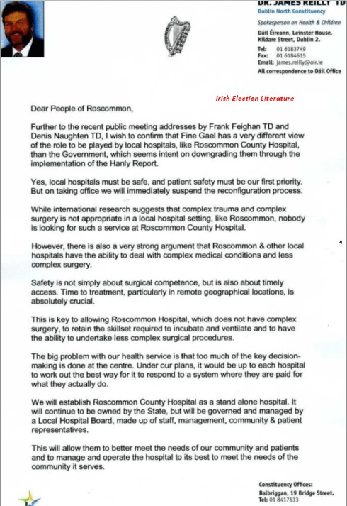 Dr.James Reilly's Letter to the people of Roscommon