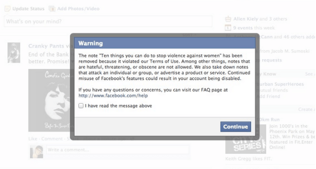 Facebook notification that the status was removed