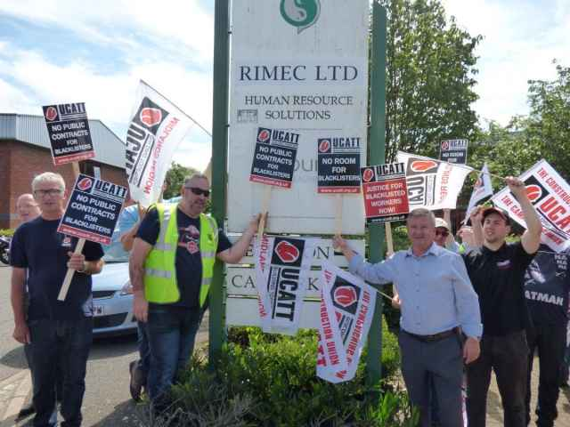 Construction union UCATT held a demonstration outside the Northampton offices of employment agency Atlanco Rimec on June 13th.