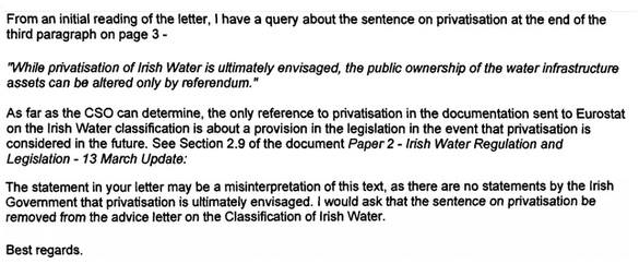 CSO requests removal of privatisation paragraph.