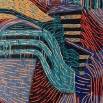 "Giovanni Spezzacatena - Rabideye Fine art ""Boogie Pipeline"" 8""x24""x2"" on cradled wood panel - mixed media $165"