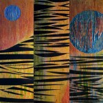 "Giovanni Spezzacatena - Rabideye Fine art ""How Can Love Remain The Same, Unchanged (Triptych in 3 parts; sides painted)"" 8""x24""x2"" times 3 - all on cradled wood panel - mixed media $380"