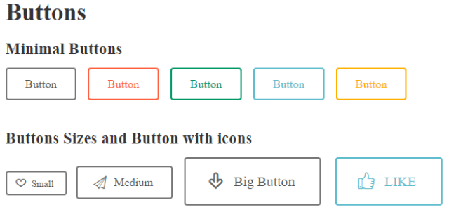 Buttons - Minimal Buttons- Button Sizes and Buttun with Icons - Shortcode - Design - Readme WP Responsive RabinsXP HTML5 & CSS3 Website Template