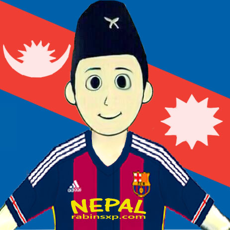 FC Barcelona Home Fan From Nepal - With Stripe Moon and Sun - With Star and Moon on Jersey - JPEG