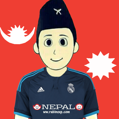 Real Madrid Fan From Nepal - With Stripe Moon and Sun - With Star and Moon on Jersey - Red - PNG