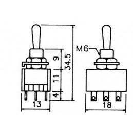 Mini Toggle Switch 3PDT C/off