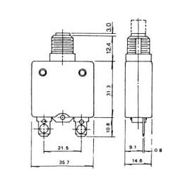Circuit Breaker Panel Mount 250VAC 10A